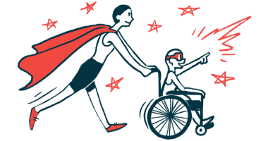 rare disease clinical trial participants | FAP News Today | Illustration of woman in cape pushing child in wheelchair